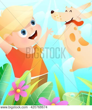 Boy And Dog Best Friends Playing Outside In Nature, Puppy Jumping Into Owner Hands. Happy Kid And Pu