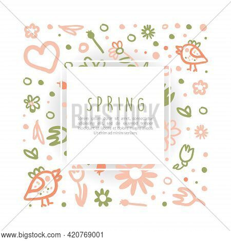 Tender Spring Hand Drawn Flowers In Vector Card Or Cover Template