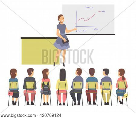 Training With People Characters Sitting In Row Listening To Woman Instructor Showing Graph On Flipch