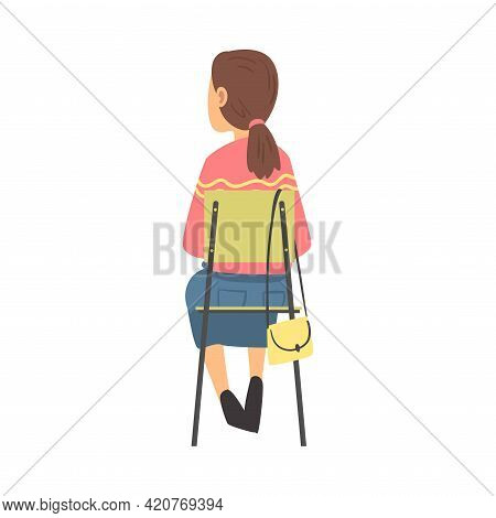Young Woman Sitting On Chair Having Training Course Listening To Lecturer Back View Vector Illustrat