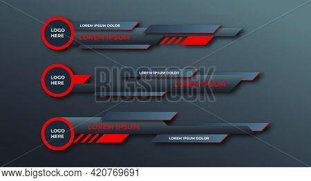 Three Geometric Lower Third Banners Set Design. Modern Geometric Lower Third Banner Template Design.