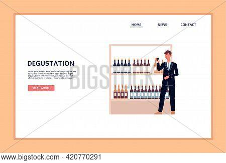 Wine Degustation Banner With Winemaker Or Sommelier Flat Vector Illustration.