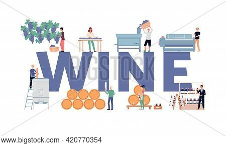Wine Making Process Concept A Vector Flat Isolated Illustration.