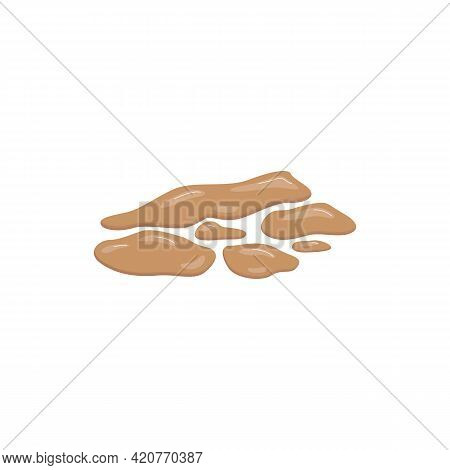 Unhealthy Liquid Mushy Consistency Excrement, Flat Vector Illustration Isolated.