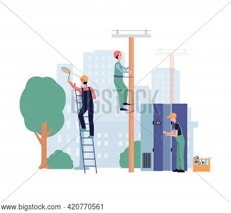 Electrician Workers Install Or Service Lighting, Flat Vector Illustration.