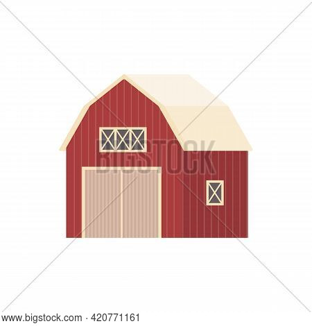 Vector Icon Of Farm Building, Agricultural Rural Barn House For Livestock Or Hay