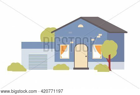 Suburban Country Family House With Garage Flat Vector Illustration Isolated.