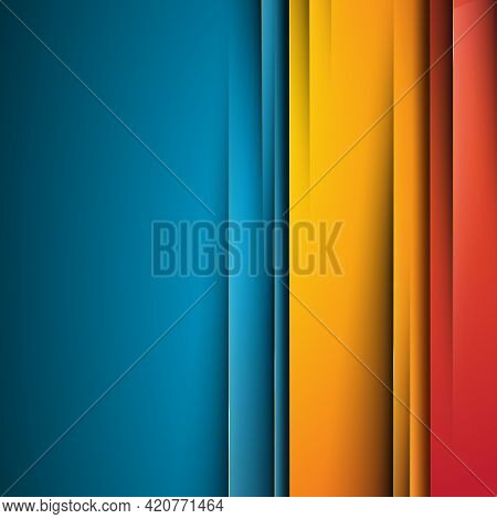 Abstract Blue Background With Yellow Accents - Vector Illustration