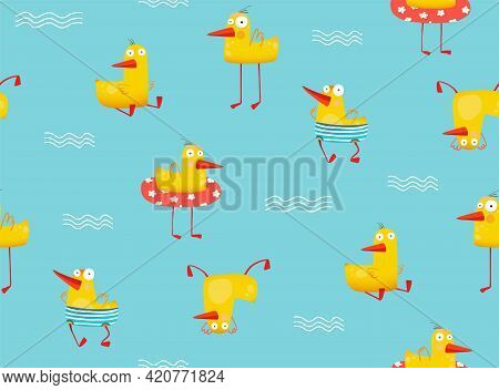Funny Yellow Duck Swimming With Inflatable In Pool. Humorous Duck Seamless Pattern For Children Appa