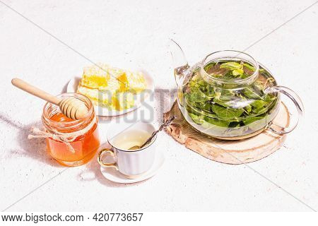 Teatime Concept With Aromatic Mint Tea, Sweet Honey