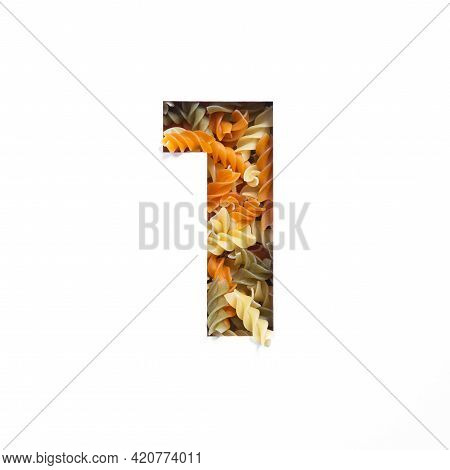 Number One Of Italian Food Pasta Fusilli, White Cut Paper In Shape Of First Numeral. Typeface For Gr