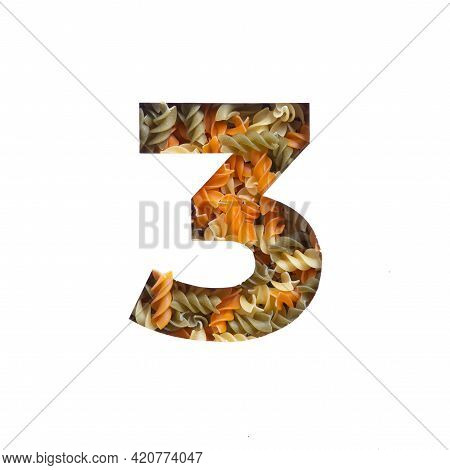 Number Three Of Italian Food Pasta Fusilli, White Cut Paper. Third Numeral. Typeface For Grocery Pro