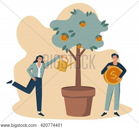 Business Investment Profit Flat Vector Illustration. Revenue And Income Metaphor. Businessman And Bu