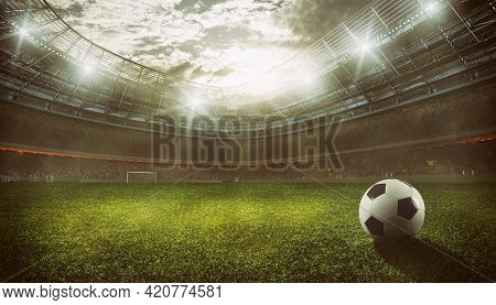 Football Stadium With The Stands Full Of Fans Waiting For The Game. 3d Rendering