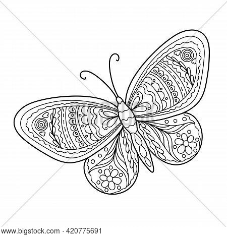 Butterfly Simple Hand Drawn Outline Vector Black And White Illustration, Coloring Page For Relax And