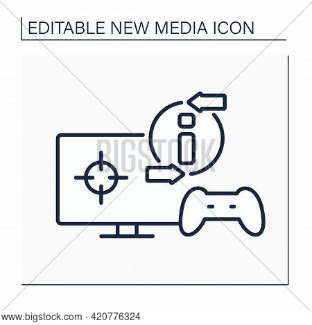 Video Game Line Icon. Online Gaming Process. Interaction With Players. Input Device. Joystick, Monit