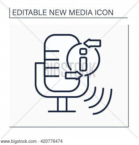 Podcast Line Icon.episodic Series Of Spoken Word, Digital Audio Files. Audio Discussion Recording.in
