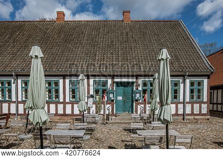 Borkop Water Mill Is A Danish Gourmet Restaurant And Museum In An Ancien Half-timbered House, Borkop