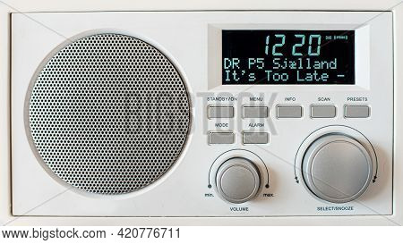 White Retro Dab Rradio With Dr P5 Sjælland On The Display, Denmark, May 10, 2021