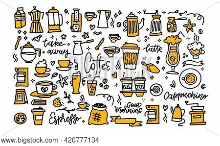 Coffee Color Black White Doodle Big Set. Coffee To Go, Take Away, Coffee Pots, Cups And Design Eleme