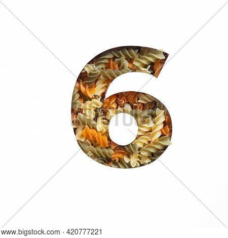 Number Six Made Of Fusilli Pasta, White Cut Paper In Shape Of Sixth Numeral. Typeface Of Nutritious