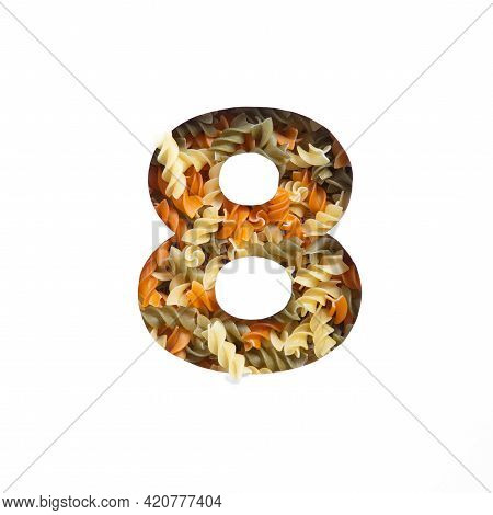 Number Eight Of Italian Food Pasta Fusilli, White Cut Paper In Shape Of Eighth Numeral. Typeface For