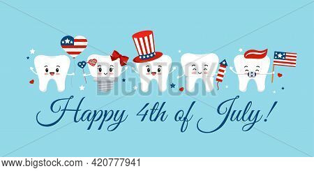 Cute 4th July Teeth With Accessories On Dentist Greeting Card.