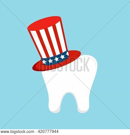 4th Of July Tooth In Uncle Sam Hat Icon Isolated On Background.