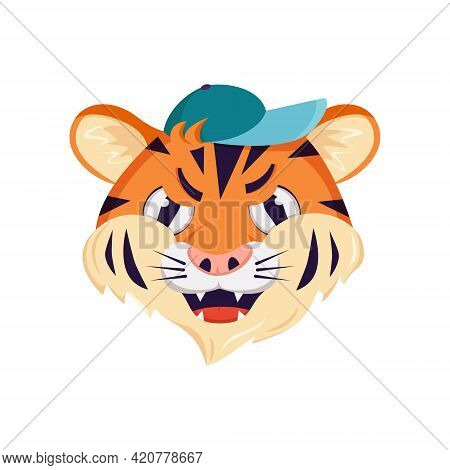 Cute Tiger Character, Face With Angry Emotions. Wild Animals Of Africa, Grumpy Cartoon Muzzle In A C