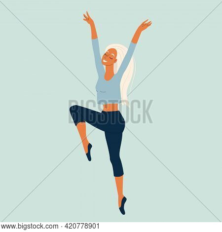 Young Girl Dancing Modern Dance, Dancer In Graceful Pose, Female Character In Cartoon Style, Vector