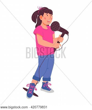 Cute Child Girl Character Singing With Microphone Flat Vector Isolated.