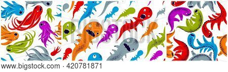 Scary Horror Monsters Seamless Vector Textile Pattern Set, Beasts Creatures Endless Wallpaper, Styli