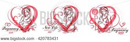 Pregnant Woman Vector Hand Drawn Illustrations Set Isolated On White Background, Prenatal Pregnancy