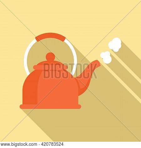 Boiling Kettle Icon. Flat Illustration Of Boiling Kettle Vector Icon For Web Design