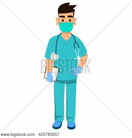 Cartoon Medic In A Mask And Protective Seals