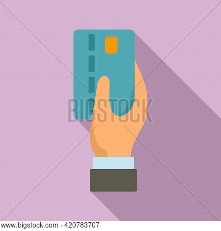 Bank Teller Credit Card Icon. Flat Illustration Of Bank Teller Credit Card Vector Icon For Web Desig