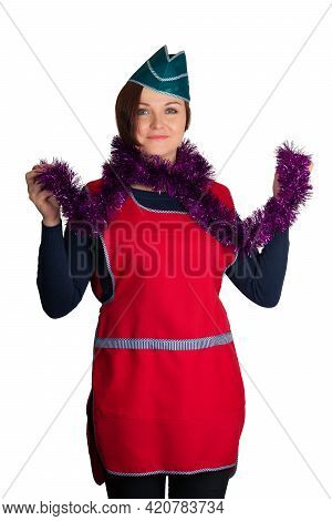 Saleswoman Celebrating Christmas With Tinsel Around Her Neck, On Isolated Background