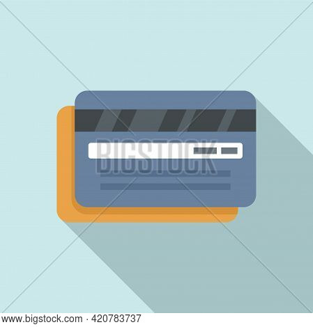 Bank Cards Teller Icon. Flat Illustration Of Bank Cards Teller Vector Icon For Web Design