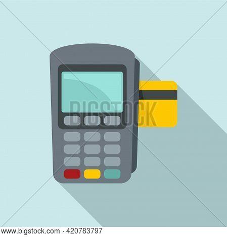 Bank Teller Pos Machine Icon. Flat Illustration Of Bank Teller Pos Machine Vector Icon For Web Desig