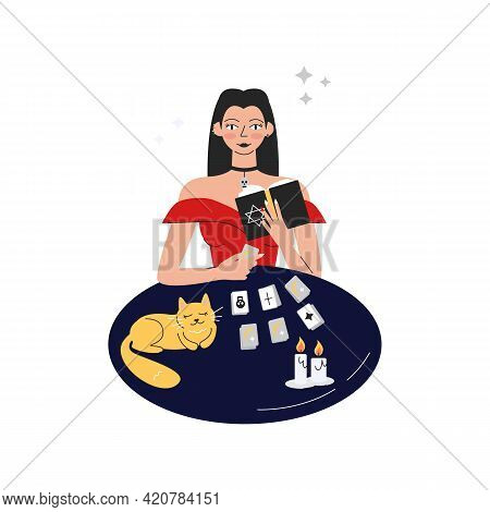 Handsome Femme Fatale In Red Dress Reading Future. Gypsy Fortune Teller With Tarot Cards, Book, Cat