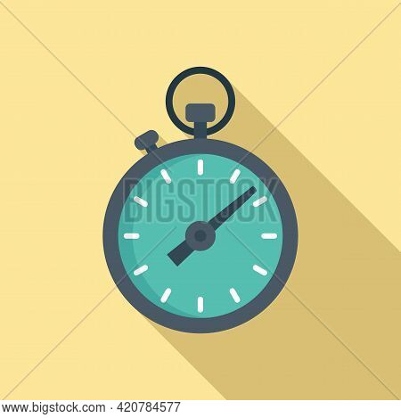 Running Stopwatch Icon. Flat Illustration Of Running Stopwatch Vector Icon For Web Design