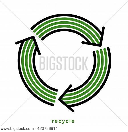 Recycle And Reuse Vector Circle Icon In Modern Geometric Linear Style Isolated On White, Contemporar
