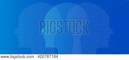 Head Binary Number Symbol Of Artificial Intelligence Thinking Digital Technology Blue Background Zer