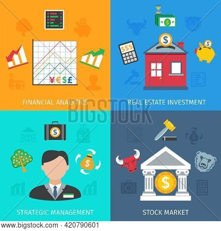Investment Design Concept Set With Financial Analytics And Strategic Management Flat Icons Isolated