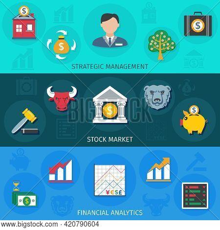 Investment Strategic Management Stock Market And Financial Analytic Flat Long Shadows Horizontal Ban