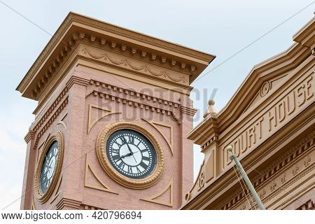 New Orleans, La - May 9: Clock Tower At Historic Algiers Courthouse On May 9, 2021 In New Orleans, L