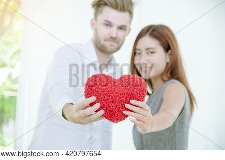 Couple Lover In Love Smile And Looking Eyes Each Other With Happiness Romantic Relationship. Couple