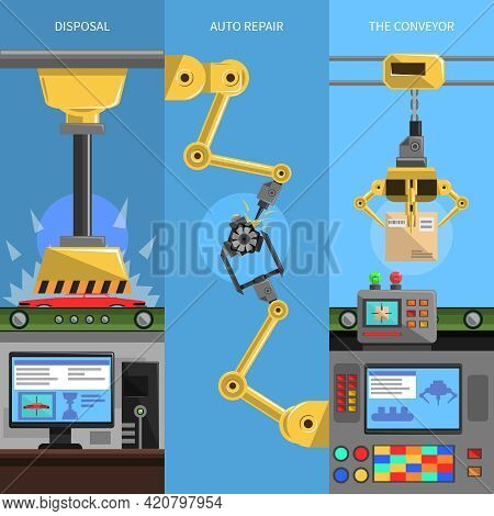 Conveyor Vertical Banners Set With Disposal And Auto Repair Symbols Flat Isolated Vector Illustratio