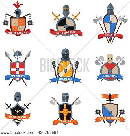 Legendary Knights Warriors Coats Of Arms Emblems Flat Labels Collection With Heraldic Shields Abstra