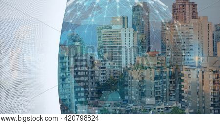 Composition of globe of network of connections over cityscape and white background. global connections, technology and digital interface concept digitally generated image.